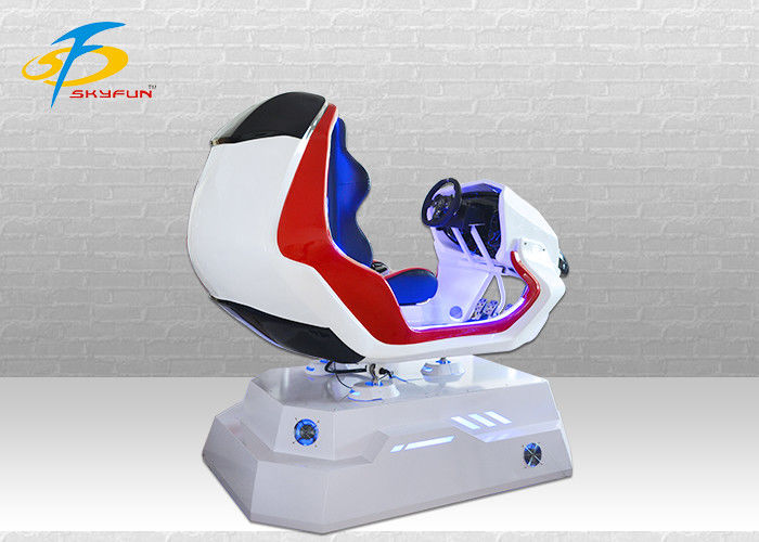 One Seat Red and White VR Racing Simulator / Virtual Gaming Device For Shopping Mall